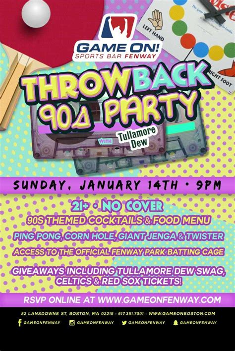 Throwback 90s Party at Game On Fenway! [01/14/18]
