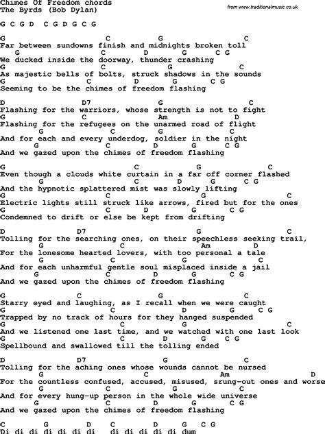 Song lyrics with guitar chords for Chimes Of Freedom