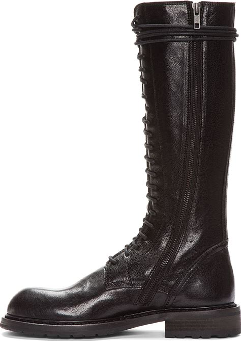 Ann demeulemeester Tall Black Leather Lace_up Boots in