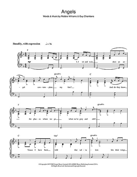 Angels sheet music by Robbie Williams (Easy Piano – 37295)