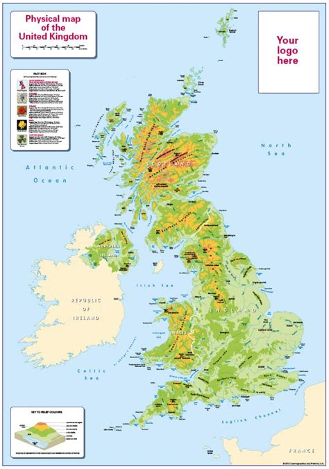 Personalised children's UK Physical Map - £24