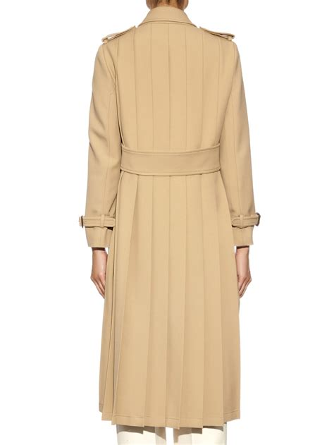 Lyst - Gucci Pleated Back Wool Trench Coat in Natural
