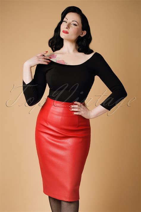 50s Naeemah Pencil Skirt in Bright Red