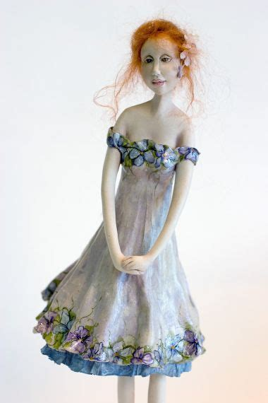 Fiola - paperclay one of a kind art doll by Yvonne Flipse